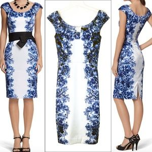 WHBM Bow Belted Blue Floral Satin Sheath Dress